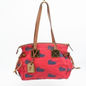 Dooney & Bourke Cloth Red and Navy Duck Bag